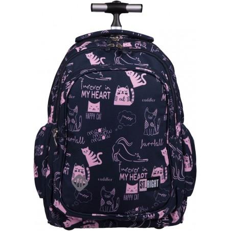 Plecak do szkoły na kółkach ST.RIGHT CATS TB01 w różowe kotki na granatowym tle