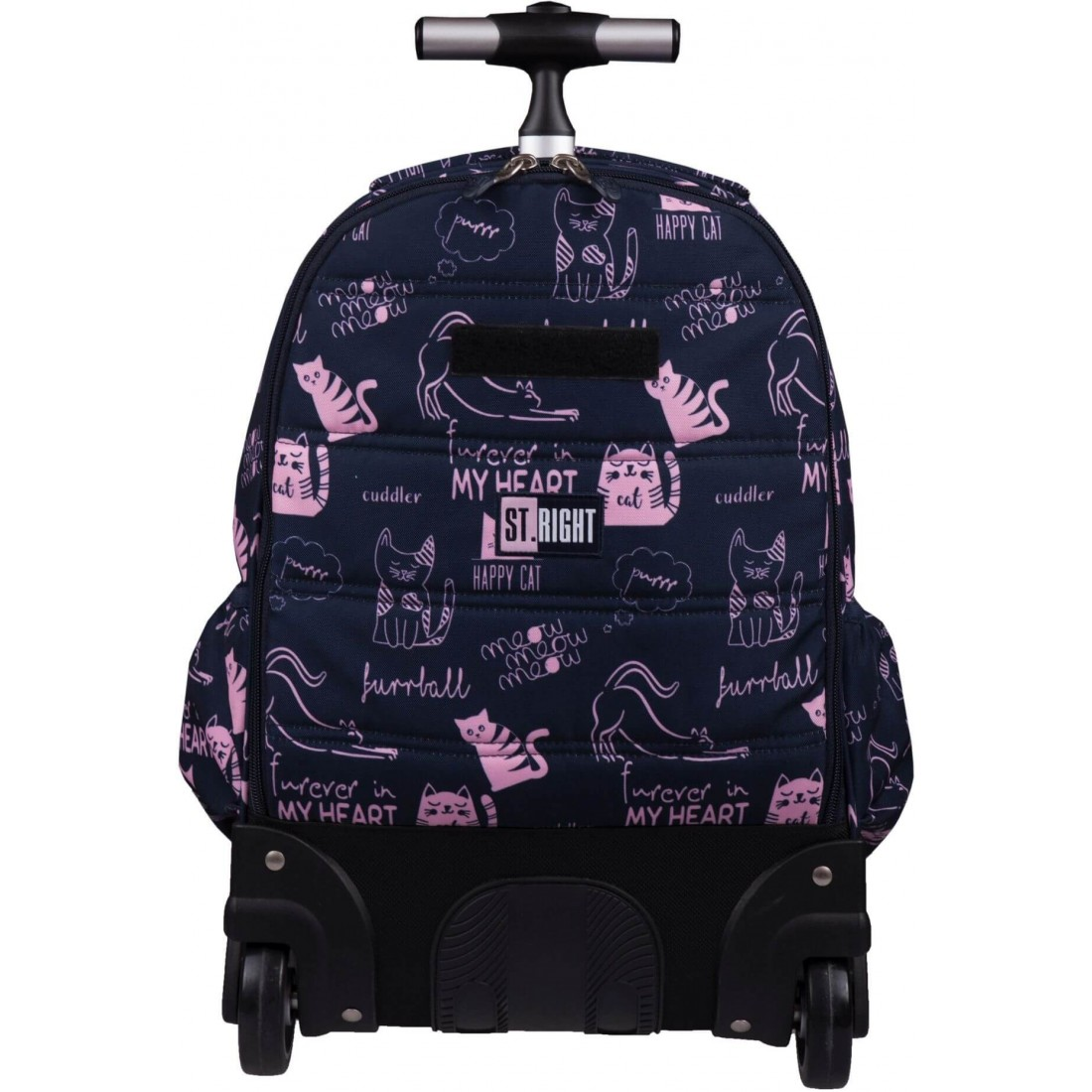 Plecak na kółkach dla dzieci granatowo-różowy koty ST.RIGHT CATS St.Majewski TB01 - plecak-tornister.pl
