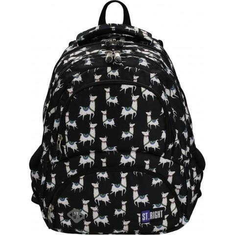 Plecak młodzieżowy ST.RIGHT LAMAS czarny z lamami BP07