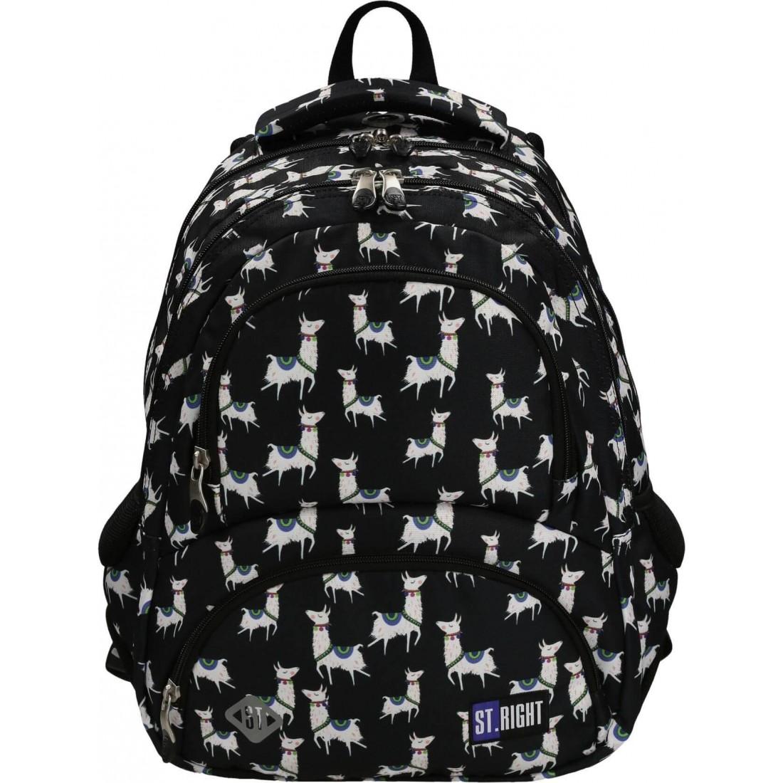 00472edfe Plecak szkolny dla nastolatków lama czarno-biały ST.RIGHT Lamas BP07 ...