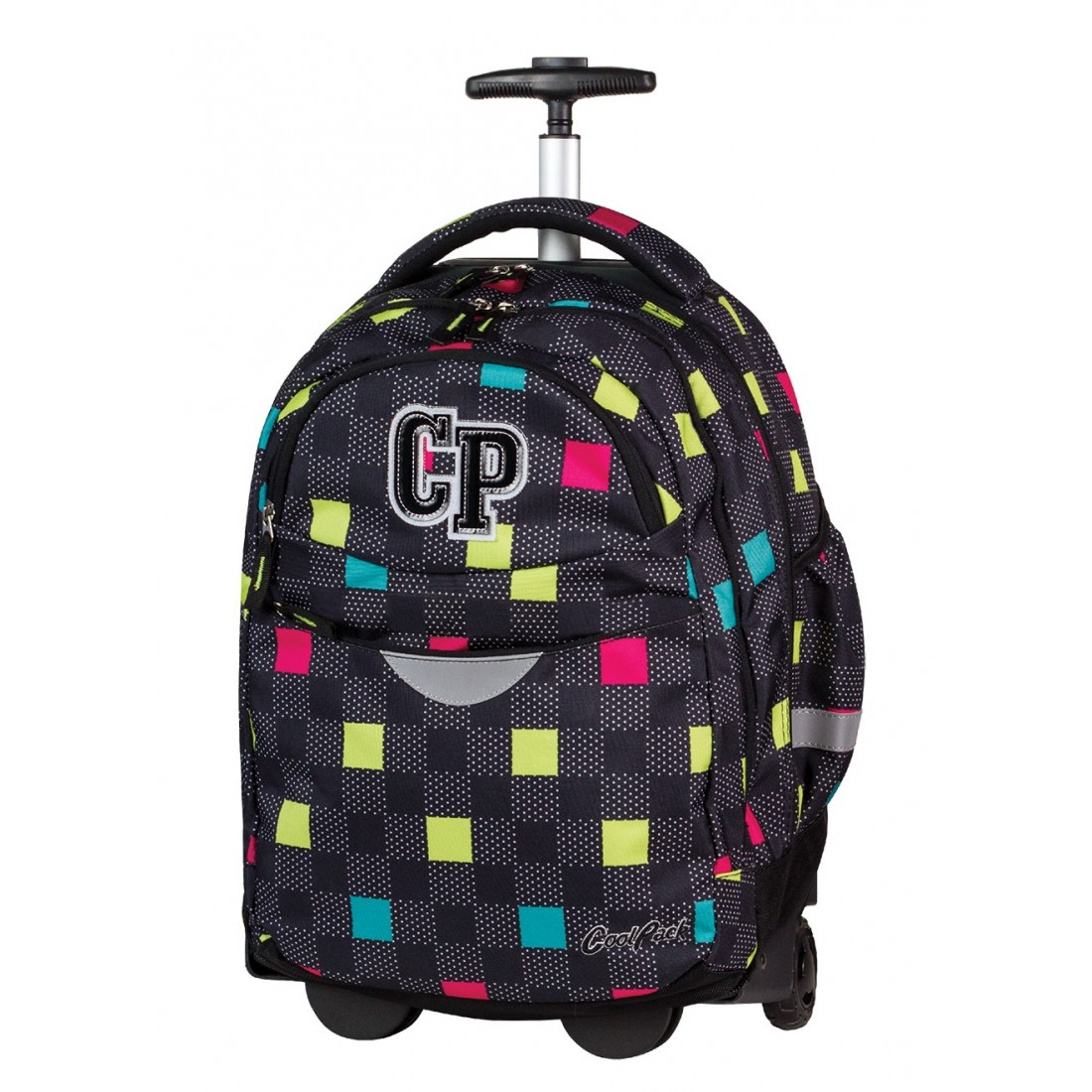 Plecak na kółkach CoolPack CP czarny w kwadraciki RAPID COLOUR TILES 471 - plecak-tornister.pl