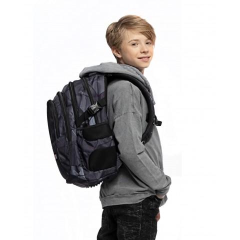 Plecak młodzieżowy ST.RIGHT 3D SHAPES szary w figury geometryczne BP01