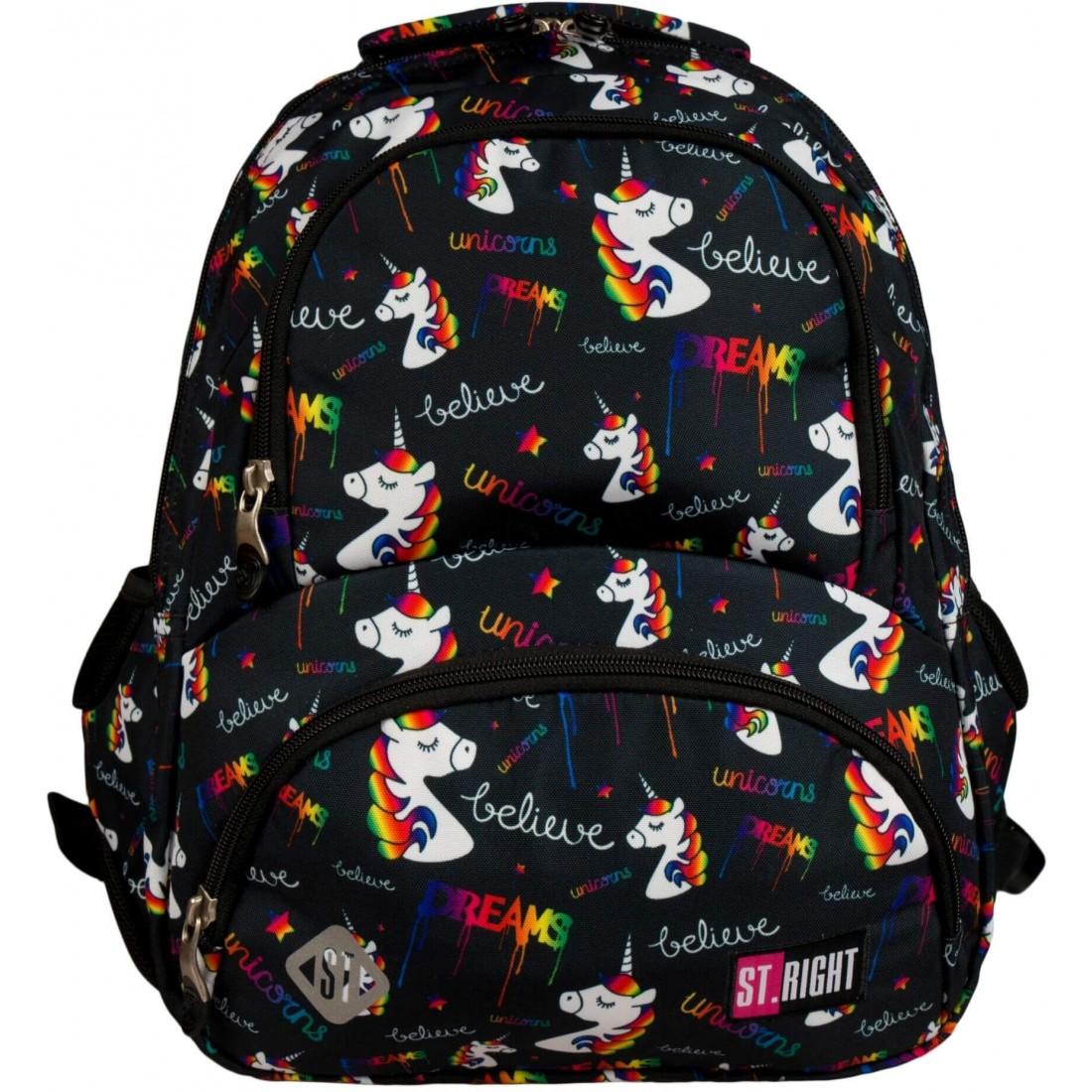 Plecak młodzieżowy ST.RIGHT UNICORNS czarny z jednorożcami BP07