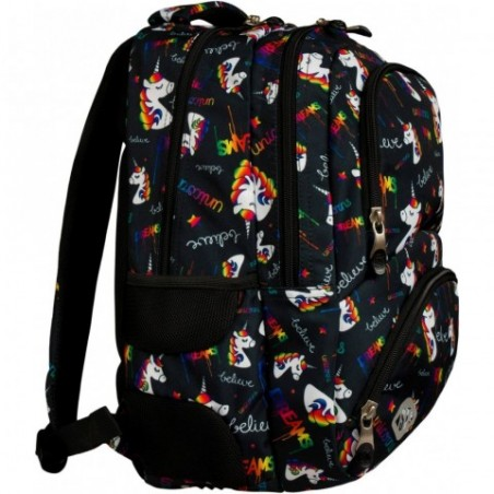 Plecak dla nastolatków w rysunkowe jednorożce na czarnym tle