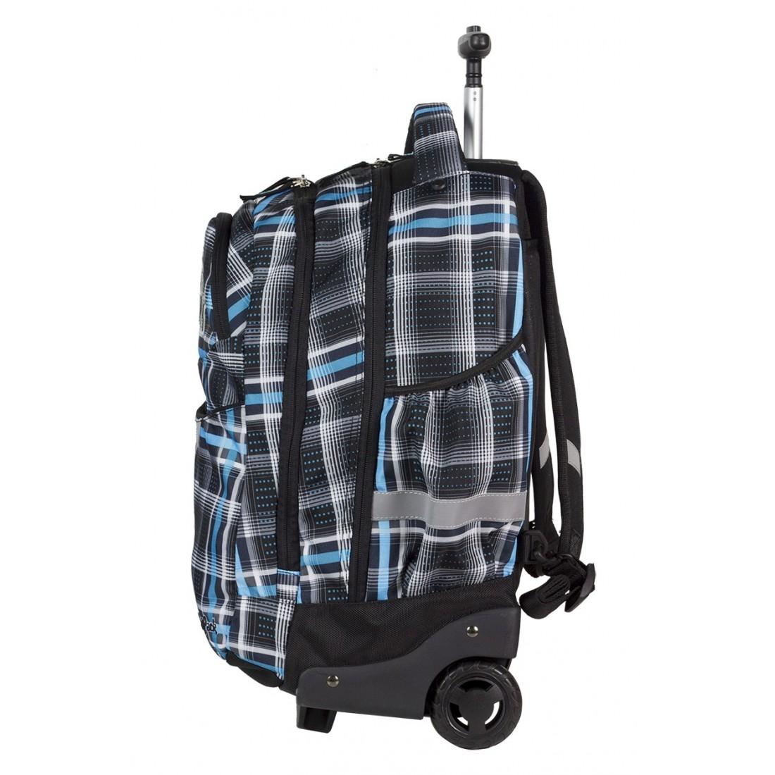 Plecak na kółkach CoolPack CP czarny i niebieski w kratkę dla chłopca RAPID SPORTY 450