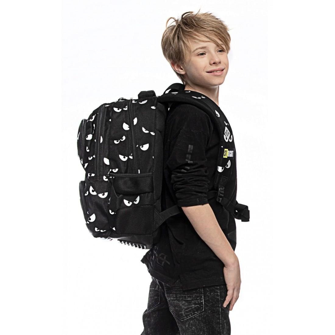 Plecak szkolny dla nastolatków czarny ST.RIGHT SILVER EYES srebrne oczy BP07 St.Majewski - plecak-tornister.pl