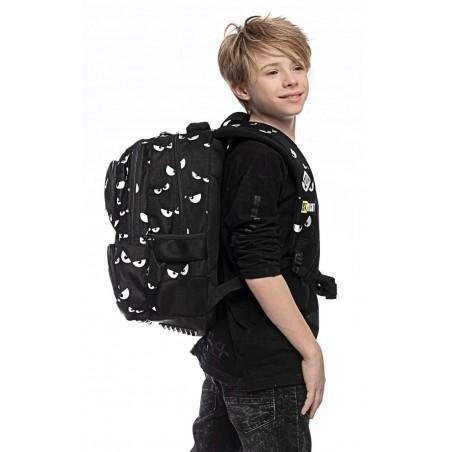 Plecak dla młodzieży czarny ST.RIGHT SILVER EYES srebrne oczy BP07 St.Majewski
