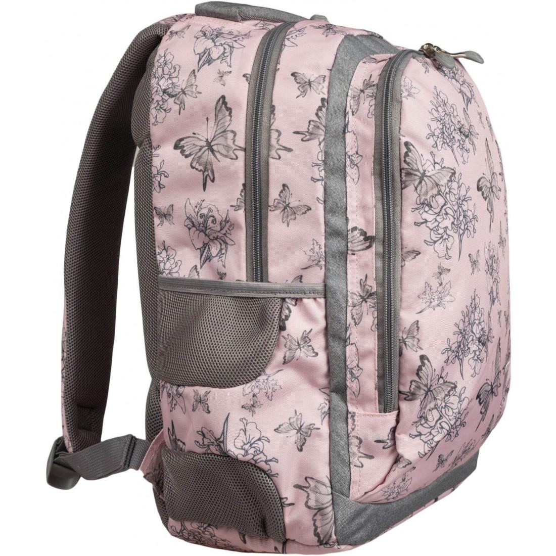 Plecak dla młodzieżyszaro-różowy w motyle od ST.RIGHT z kolekcji Vintage Butterflies