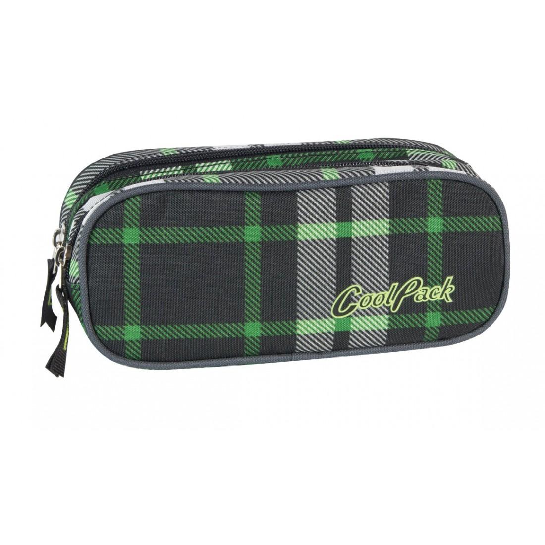 Saszetka podwójna CoolPack CLEVER GREEN TARTAN CP 184 - plecak-tornister.pl