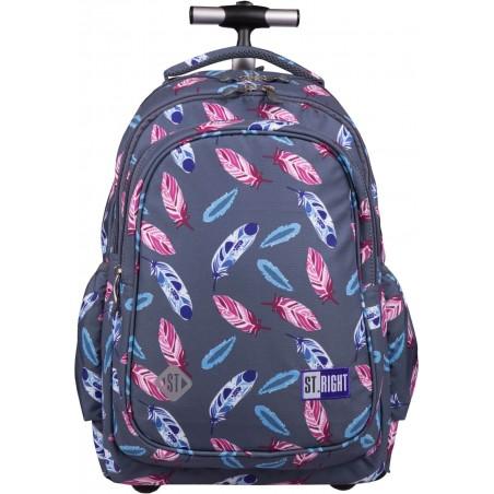 Plecak szkolny na kółkach ST.RIGHT INDIAN FEATHERS w piórka dla dziewczyn TB01 St.Majewski