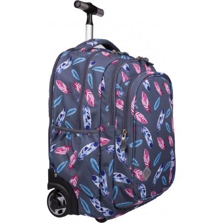 Plecak na kółkach dla dziewczynki w różowo-fioletowe piórka na szarym tle