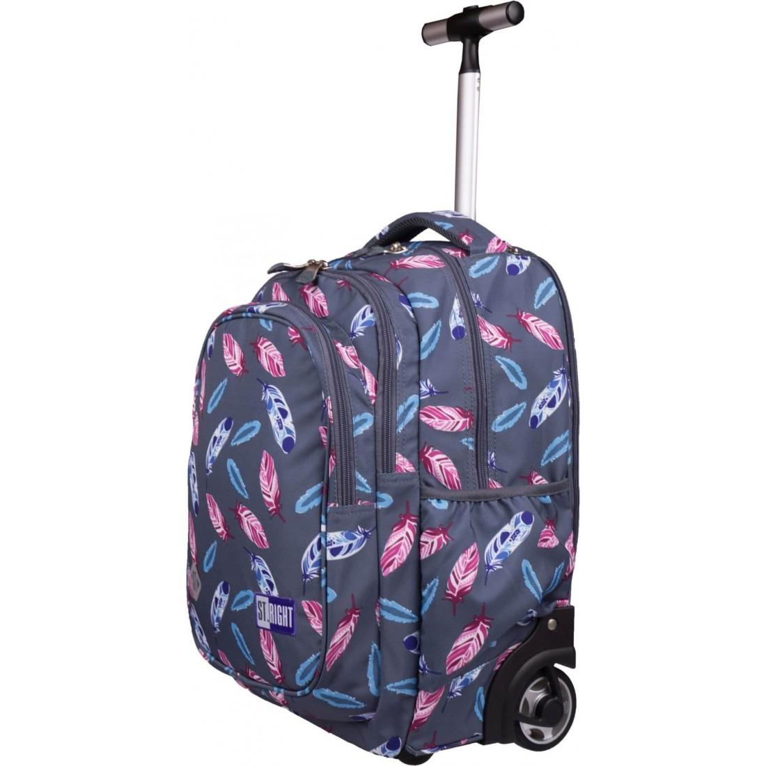 Plecak na kółkach dla dziewczyny piórka ST.RIGHT Indian Feathers TB01 St.Majewski - plecak-tornister.pl
