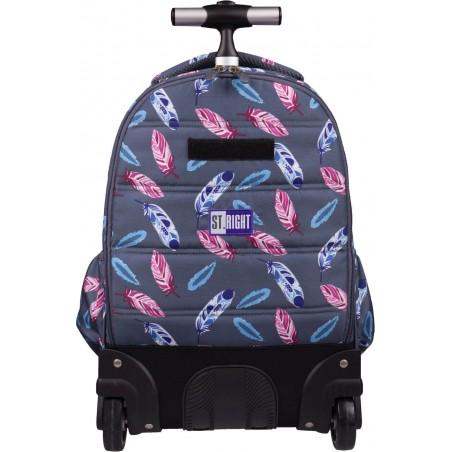 Plecak do szkoły na kółkach ST.RIGHT Indian Feathers TB01 jest niezwykle pojemny i odporny na przetarcia