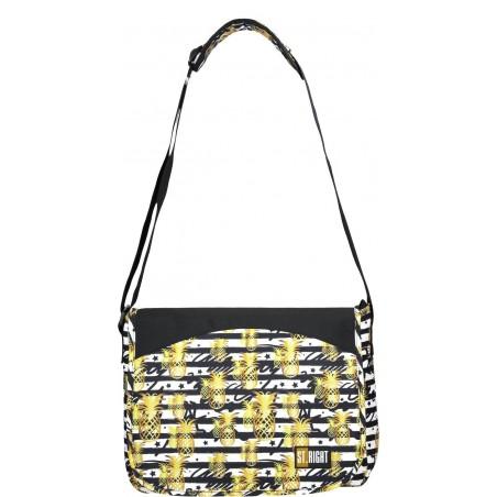 Regulowany pas torby na ramię ST.RIGHT Tropical Party SB01 pozwoli na dopasowanie jej do wzrostu ucznia