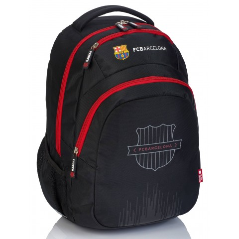 Plecak szkolny młodzieżowy FC Barcelona FC-239 czarny z czerwonymi zamkami