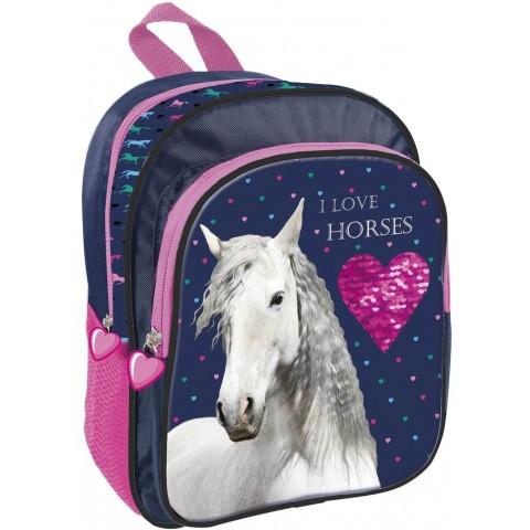 Plecak z koniem dla przedszkolaka I LOVE HORSES biały koń