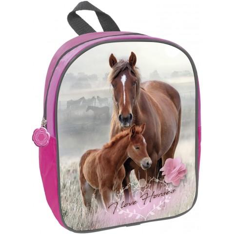 Plecak z koniem do przedszkola I LOVE HORSES pastelowy konie