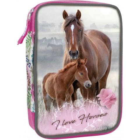 Piórnik konie z wyposażeniem z koniem I LOVE HORSES piórnik koń