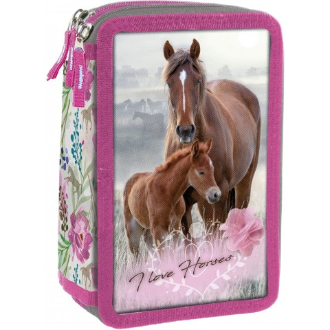 Piórnik koń do szkoły trzykomorowy I LOVE HORSES bez wyposażenia piórnik konie