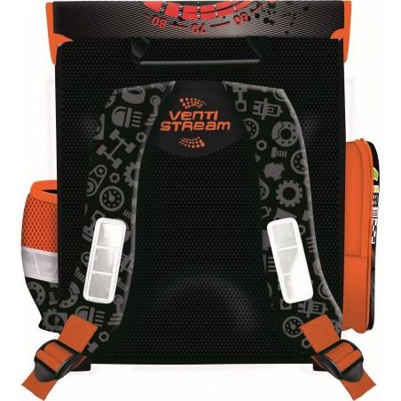 Tornister szkolny czarno-pomarańczowy w auta wyścigowe