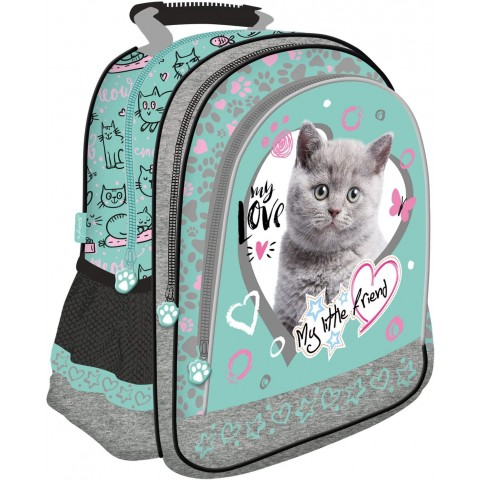 Plecak kot szkolny MY LITTLE FRIEND miętowy z kotkiem w serduszku