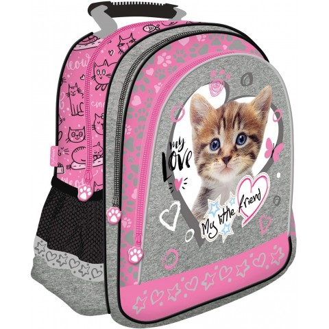 Plecak szkolny MY LITTLE FRIEND różowy z kotkiem w serduszku