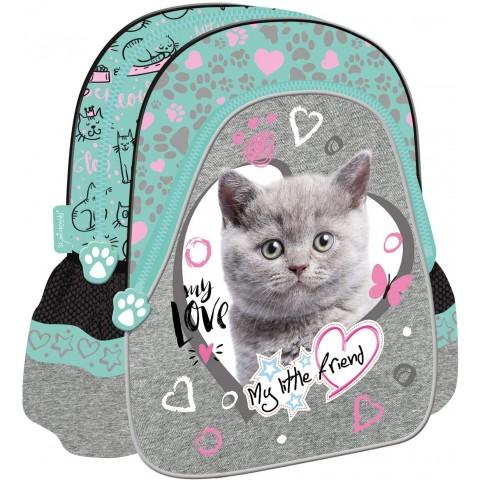 Plecak dla dziecka do przedszkola MY LITTLE FRIEND miętowy z kotkiem w serduszku