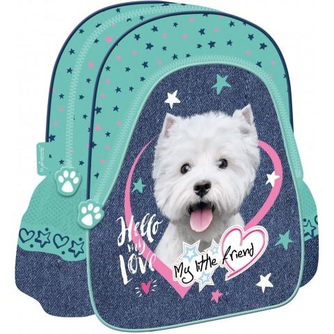 Plecak dla dziecka do przedszkola MY LITTLE FRIEND miętowy z pieskiem york w serduszku