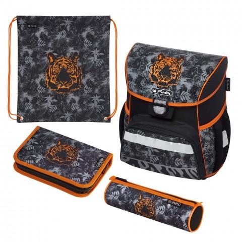 Tornister z wyposażeniem HERLITZ LOOP PLUS TIGER szary z pomarańczowym tygrysem