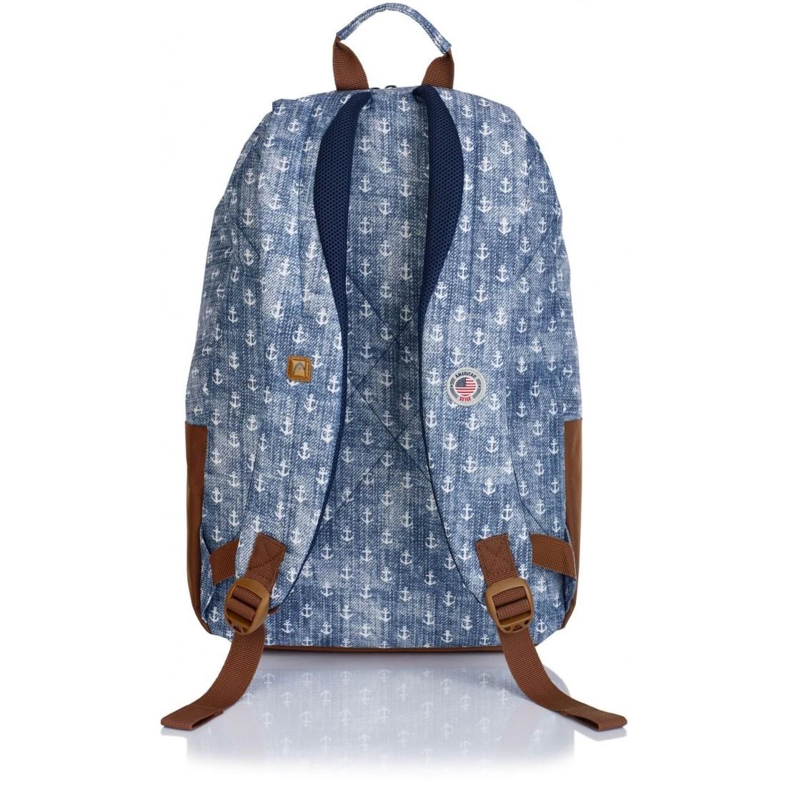 Plecak miejski dla nastolatki Head HD-363 G niebieski w białe kotwice - plecak-tornister.pl