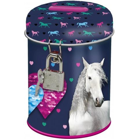 Skarbonka z koniem dla dziecka I Love Horses metalowa na kłódeczkę