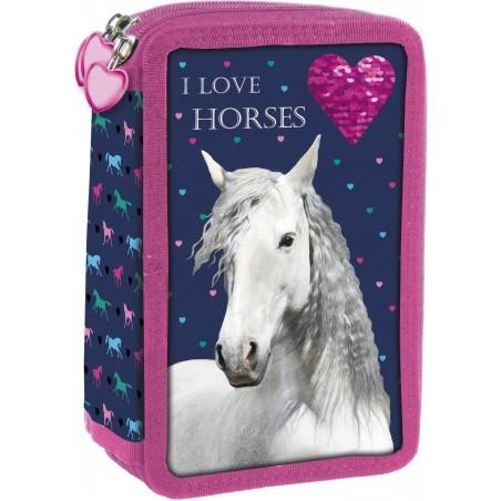 Piórnik konie potrójny z wyposażeniem I LOVE HORSES piórnik koń