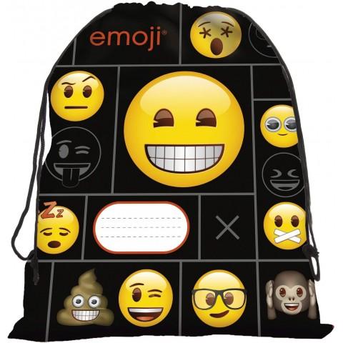 Worek emotki szkolny na buty Emoji czarny w żółte buźki