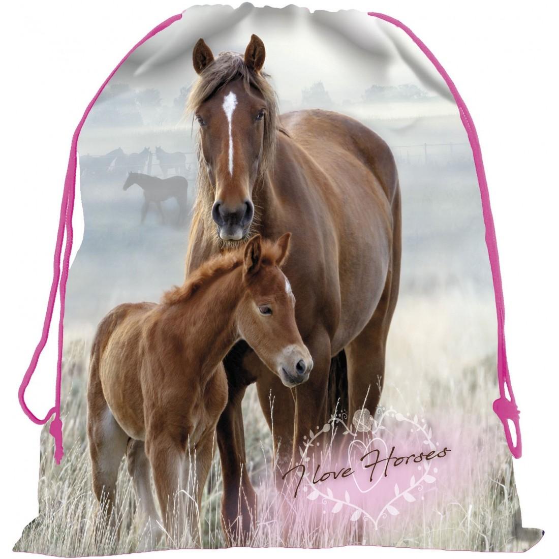 Worek Szkolny Z Koniem Na Wf Dla Dziewczynki I Love Horses Zrebak Plecak Tornister Pl