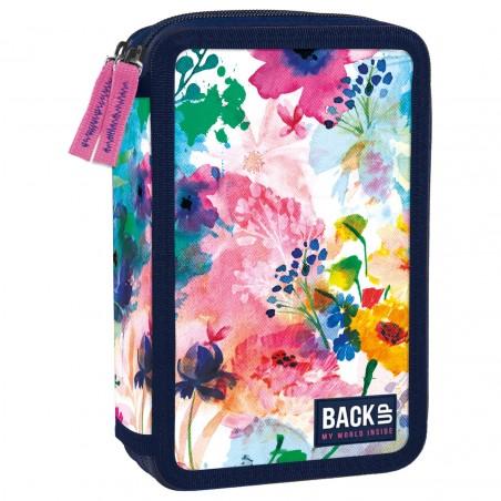 Piórnik do szkoły 2 komory BackUP z wyposażeniem w kwiaty WIOSENNY pastele DW28