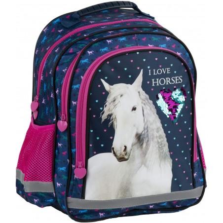 Plecak z koniem do szkoły I LOVE HORSES granatowy z cekinowym sercem