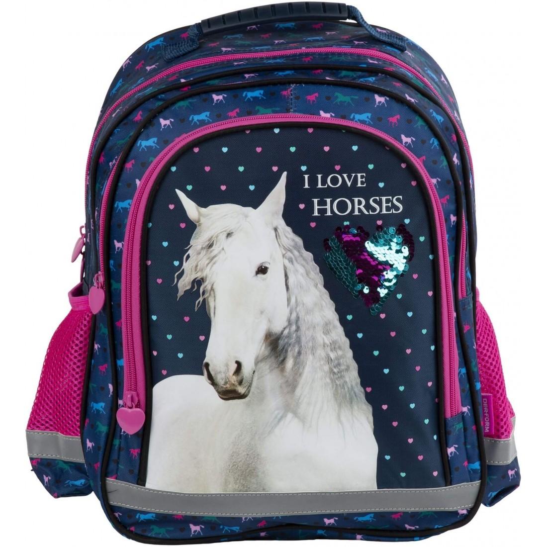 Plecak z koniem do 1 klasy I Love Horses granatowo-różowy z cekinami - plecak-tornister.pl