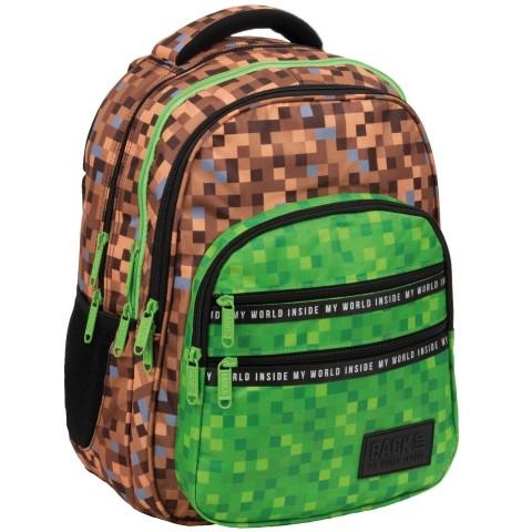 Plecak do szkoły chłopięcy BackUP bloki gra pixele zielony GAME M68
