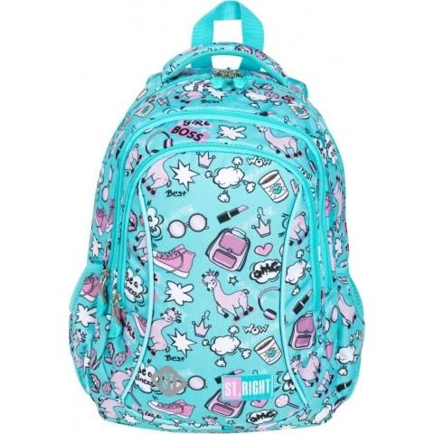 Plecak szkolny do 1 klasy dziewczęcy ST.RIGHT PASTEL LAMAS z lamą miętowy BP26