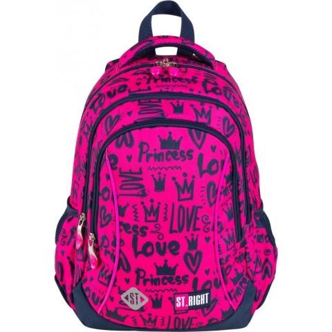 Plecak dla dziewczynki do pierwszej klasy ST.RIGHT LOVE różowy w serca BP26