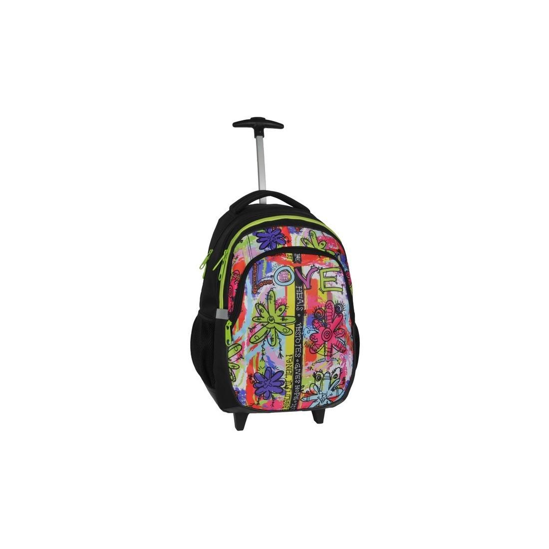 Plecak na kółkach Dream Big Love w kolorowe kwiatki - plecak-tornister.pl