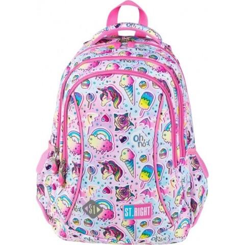 Plecak dla dziewczynki różowy do 1 klasy ST.RIGHT jednorożce lody SWEET&PINK BP26