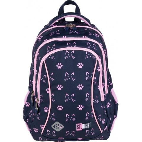 Plecak szkolny dla dzieci granatowy ST.RIGHT kotki do pierwszej klasy BP26