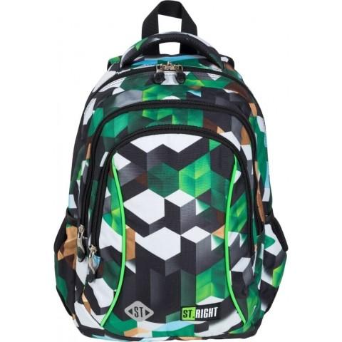 Plecak szkolny dla chłopca do 1 klasy bloki ST.RIGHT GREEN 3D BLOCKS zielony BP26