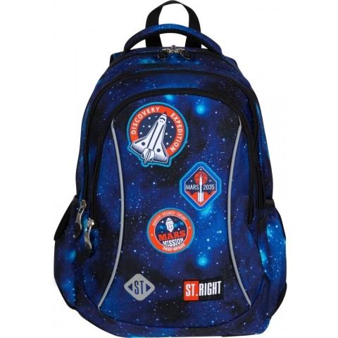 Plecak szkolny do 1 klasy niebieski ST.RIGHT COSMIC MISSION kosmos z naszywkami BP26