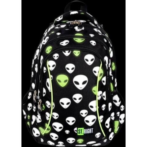 Plecak szkolny dla chłopca świecący w ciemności UFO ST.RIGHT Reflective Aliens z kosmitami BP26