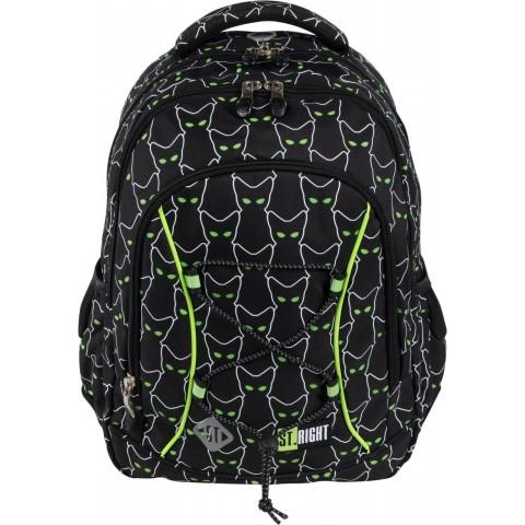 Plecak szkolny odblaskowy czarny ST.RIGHT REFLECTIVE CATS kotki dla dzieci BP32