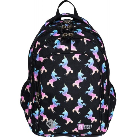 Plecak do szkoły czarny dziewczęcy ST.RIGHT RAINBOW UNICORNS w jednorożce BP58
