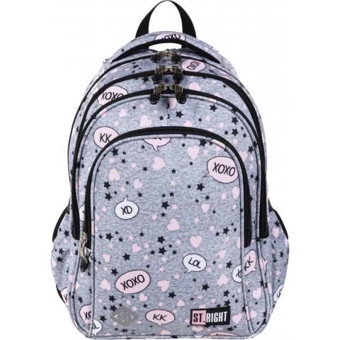 Plecak dziewczęcy do szkoły ST.RIGHT SLANG szary z napisami XD XOXO LOL BP58