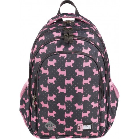 Plecak dla dziewczynki szary ST.RIGHT DOGGIES różowe pieski york BP58